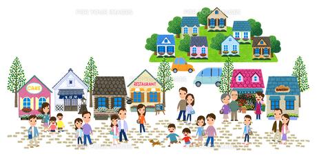 石畳の商店街のある住宅街と人々 Fyi01060041 気軽に使える写真