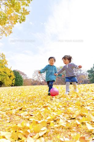秋の公園でボール遊びをする男の子と女の子 FYI01075069