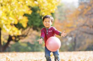 秋の公園でボール遊びをする男の子 FYI01075088