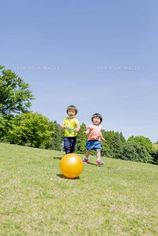 新緑の公園でボールで遊ぶ兄と妹 FYI01075767