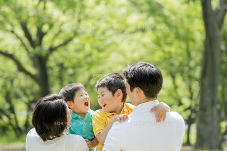 新緑の公園で遊ぶ4人家族 FYI01075893