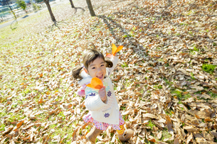 落葉の公園を葉っぱを持って走る女の子 FYI01076063