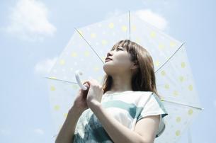 青空をバックに傘を差した女性 FYI01077123