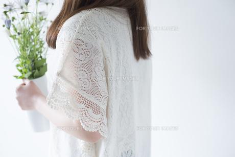 ポットに入った白いデイジーを持つ女性の横姿 FYI01077248