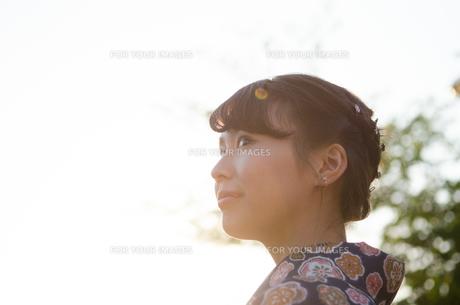 西日を浴びた着物姿の女性の横顔 FYI01077312