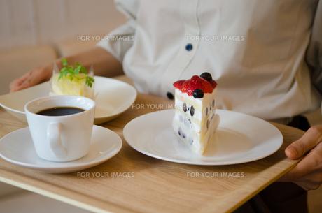 トレイに乗ったケーキとコーヒーを持っている女性の手元 FYI01077760