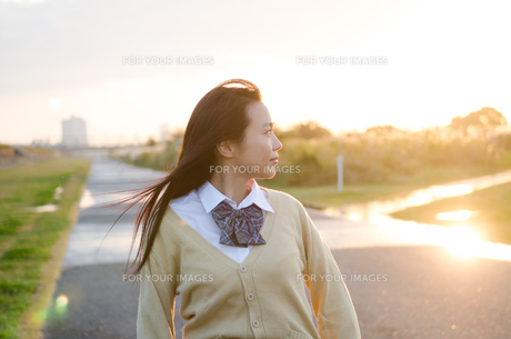 横を向いている女子学生 FYI01078066