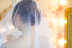ベールを掛けているドレス姿の女性の後ろ姿 FYI01078324