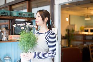 お花の鉢を持っている女性 FYI01078608