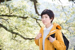 木をバックにこちらを見る女性 FYI01078859