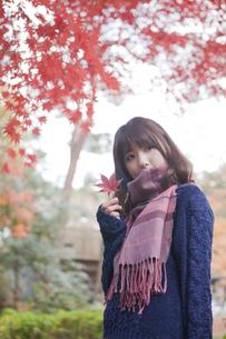 秋の公園で立っている女性 FYI01096662