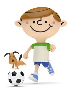 サッカーボールを追いかける男の子と犬 FYI01096681