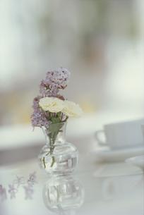 ガラスの花瓶にいけられた白いミニバラやライラック FYI01119789