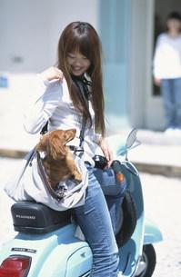 鞄に犬を入れてベスパに乗る女性 FYI01121998