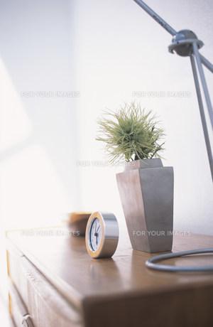木目のキャビネットの上に置かれた時計や植物 FYI01122385