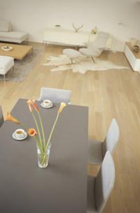 オレンジの花(カラー)を置いたテーブルのあるリビング FYI01122419