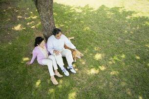 芝生に座るシニア夫婦と犬 FYI01144742
