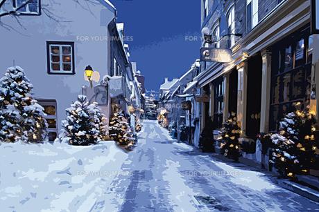 クリスマスツリーのある雪のケベックの街並み Cg Fyi01146280 気軽に