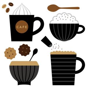 カプチーノとカフェラテとクッキー FYI01159005