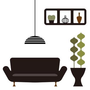 ソファーと観葉植物のあるインテリア FYI01159007