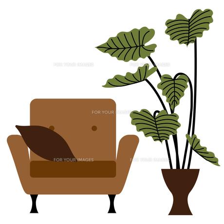 ソファーと観葉植物 FYI01159010