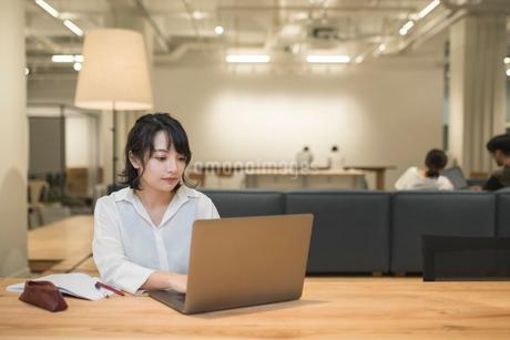 デスクでオフィスワークしているOL女性オフィスワークの写真素材 [FYI01216301]