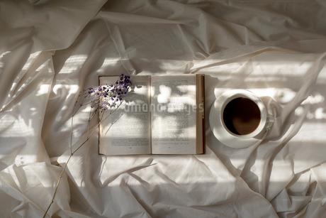 白い布の上に置いた本と花とカップに差し込む光の写真素材 [FYI01216624]
