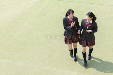校庭で会話する2人の女子高校生の写真素材 [FYI01220784]